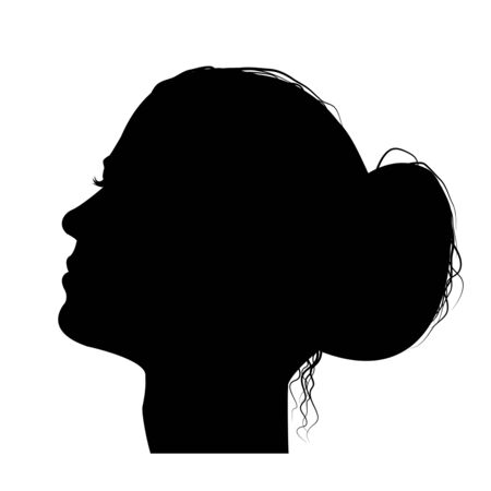Woman profile with hair in a bun, black silhouette