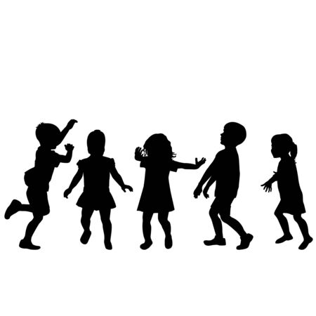 Children silhouettes playing on white background Standard-Bild - 131583175