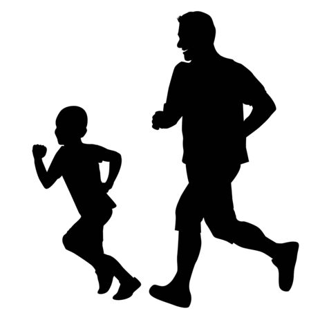 Father and son running together