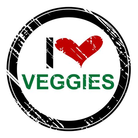 Rubber stamp with the text I love veggies