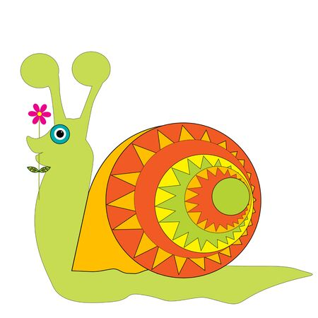 Cartoon green snail isolated on white background