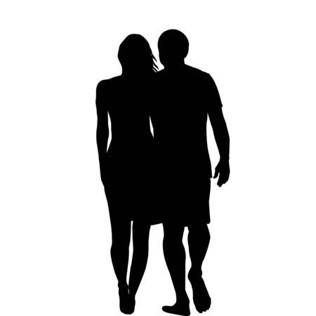 Silhouettes of romantic hugging couple Zdjęcie Seryjne