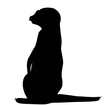 Meerkat silhouette isolated on white background