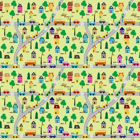 Seamless background of cartoon countryside scene
