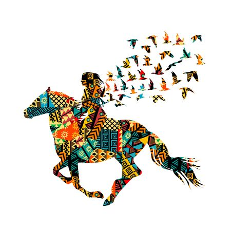 Colorful ethnic motifs pattern of a woman riding with birds Ilustrace