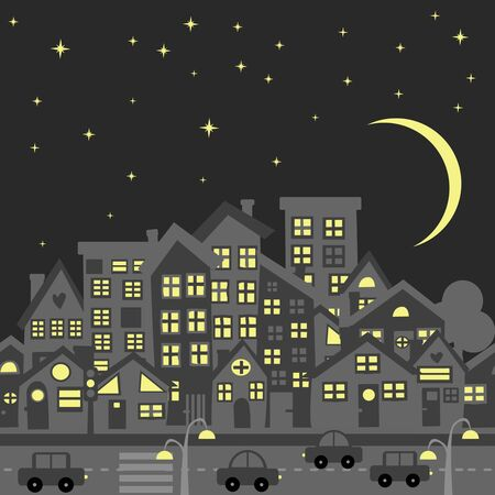 Night city skyline silhouette with cartoon traditional rooftops Ilustrace