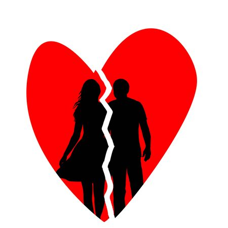 Broken heart with silhouette of man and woman