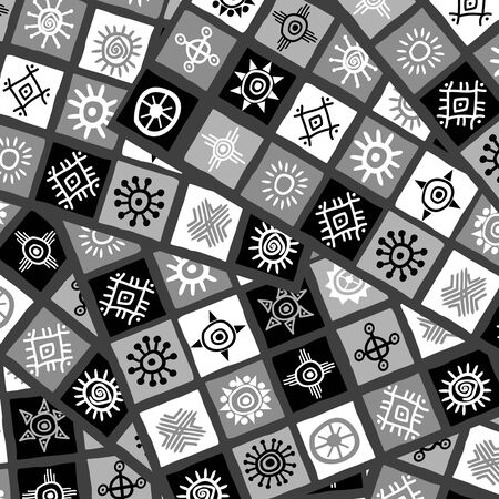 Abstract black and white african motifs background Banque d'images - 131702946