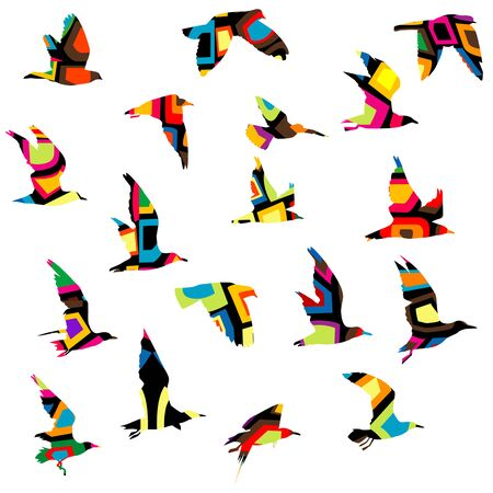 Colorful silhouettes of birds flying  イラスト・ベクター素材