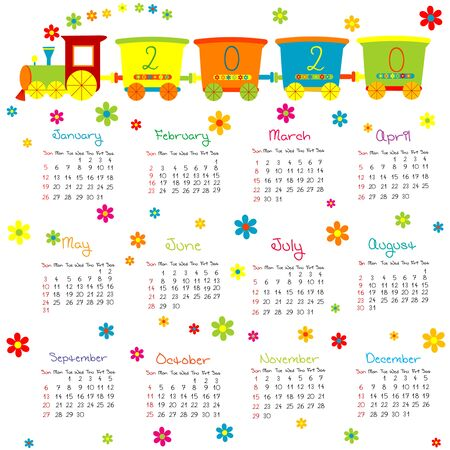 2020 Calendar for kids  with toy train and flowers Stok Fotoğraf - 131703322