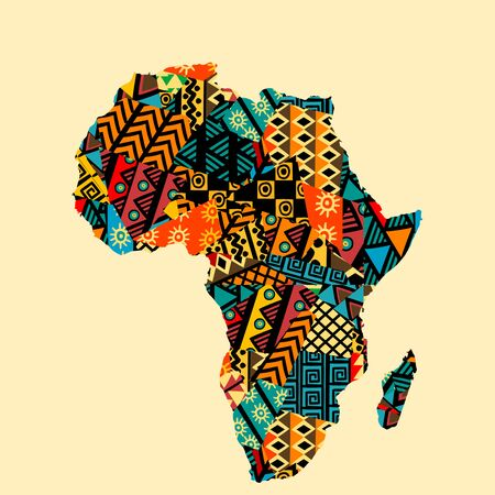 Africa map with ethnic motifs pattern Banque d'images - 131799972