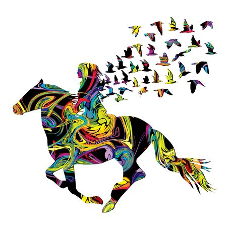 Abstract colorful woman horse rider with birds