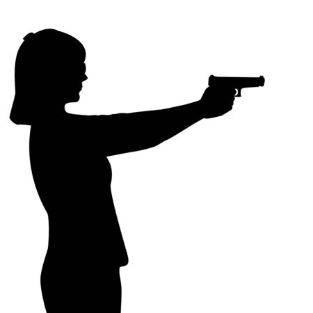 Silhouette of woman with a gun