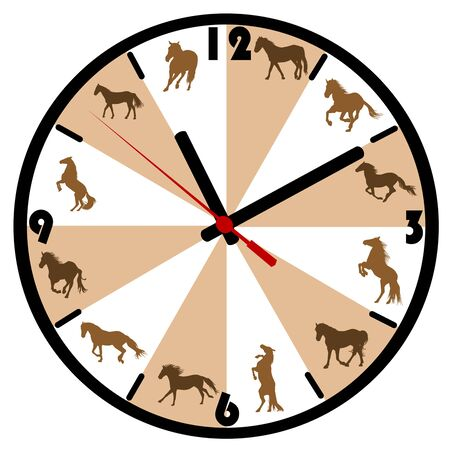 Wall clock with horse silhouettes