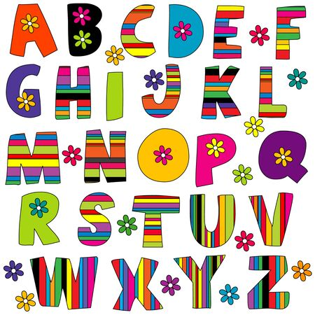 Cute colorful English alphabet with flowers and stripes Vector Illustration
