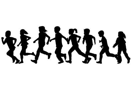 Black silhouettes of children running Archivio Fotografico - 134961873