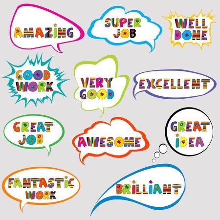 Set of speech bubbles with positive slogans Ilustração Vetorial