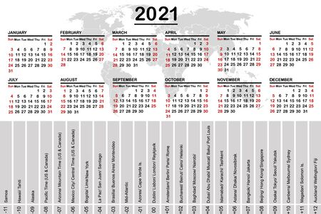 2021 calendar with world map and time zones