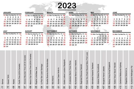 2023 calendar with world map and time zones