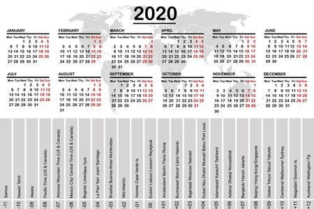 2020 calendar with world map and time zones