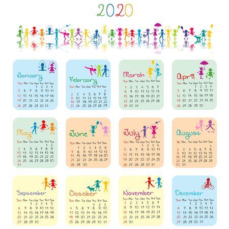 2020 calendar with doodle kids Çizim