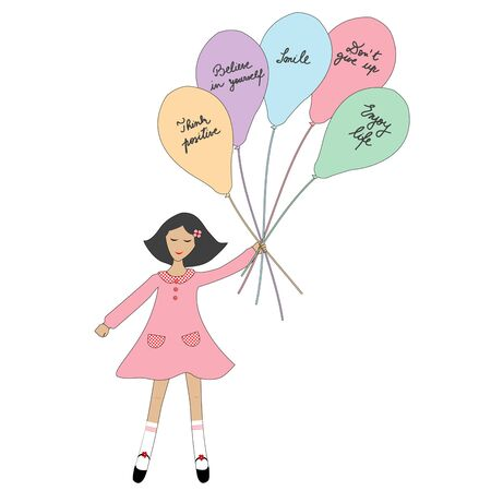 Cartoon girl holding balloons with positive slogans Ilustracja