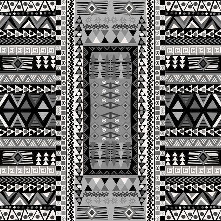 Black and white doodle african pattern with geometric motifs