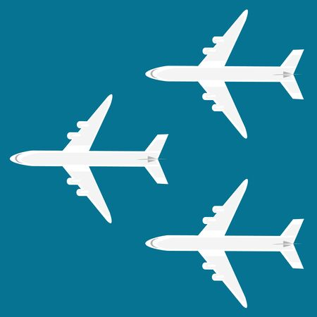 Airplanes on the sky background 向量圖像