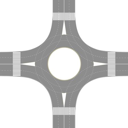 Roundabout road junction over white background
