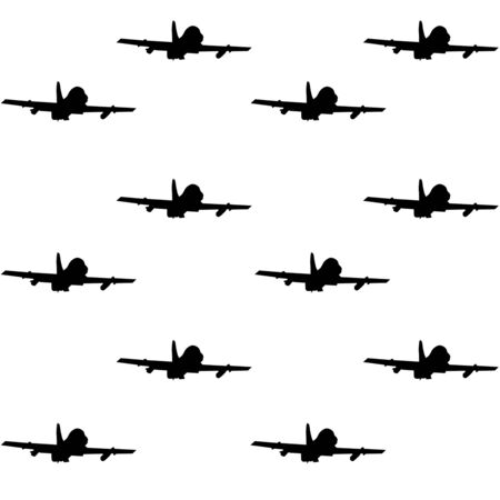 Military fighter jet seamless pattern Vector Illustration