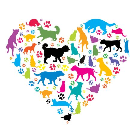 I love pets concept with silhouettes of dogs and cat in heart shape Ilustração