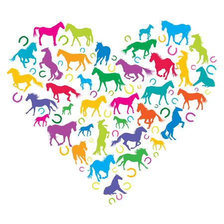 I love horses concept with silhouettes of horses and horse shoes in heart shape Vettoriali