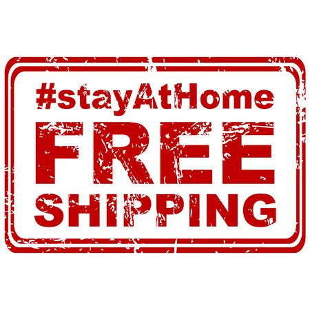 Stay at home and Free shipping rubber stamp