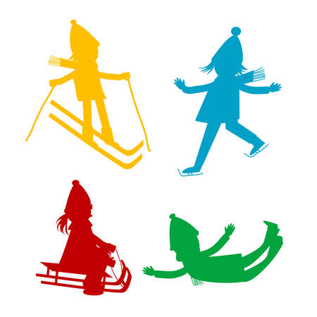 Cartoon kids silhouettes playing in the winter Ilustrace