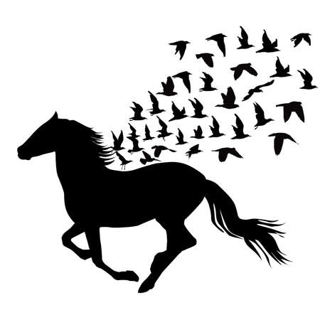 Abstract silhouettes of horse and birds flying