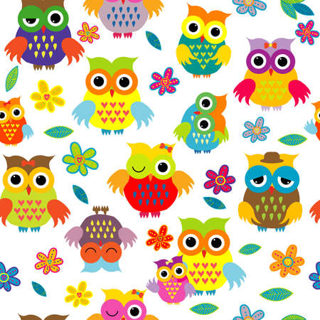 Seamless cute pattern whith cartoon owls on white background Ilustrace