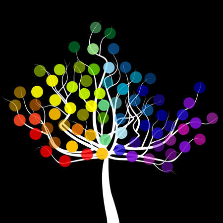 Abstract tree with rainbow colorful round fruits