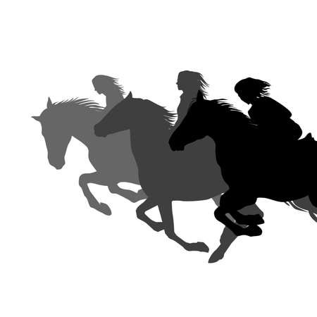 Three women galloping horses in a race riding