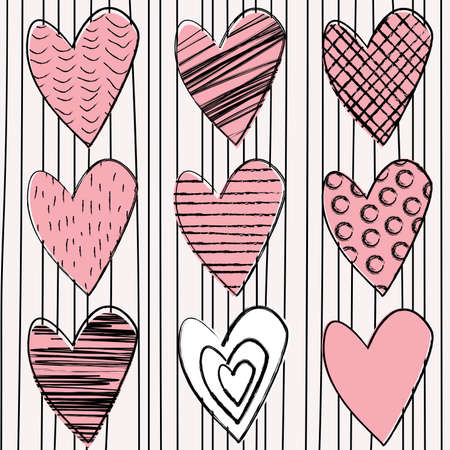 Set of doodle hearts on striped background