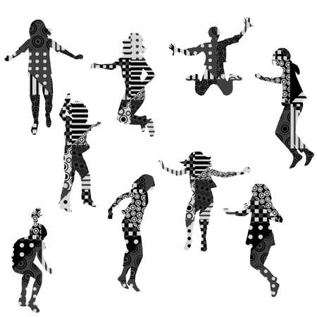 Silhouettes of jumping children with geometric pattern