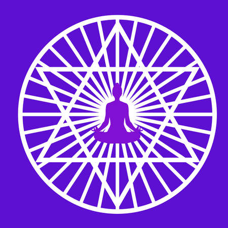 Silhouette of yogi in lotus position in a middle of a stylized pentagram symbol