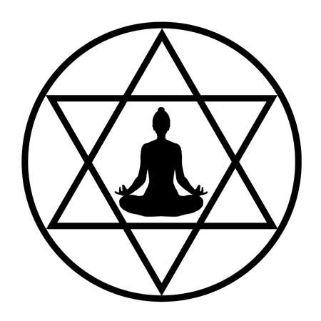 Simple drawing with a yogi in the lotus position in a middle of a stylized pentagram