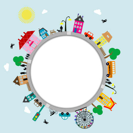 Circular frame of cartoon city Ilustrace