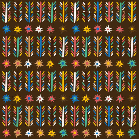 African seamless background with flowers, stripes and stars Ilustrace