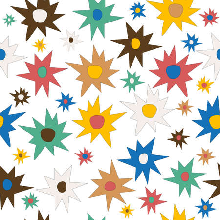 Doodle stars colored seamless background