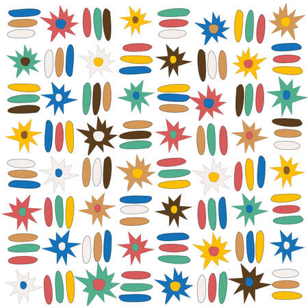 Doodle stars and stripes colorful lines seamless pattern