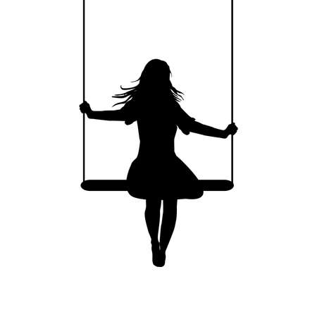 A young woman silhouette who is swinging