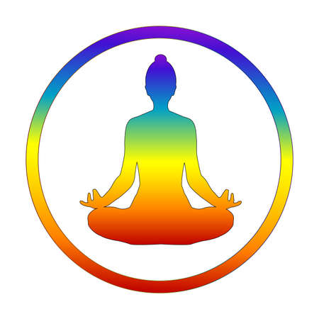 Silhouette of yogi in lotus position in chakra colors