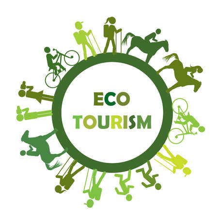 Eco turism concept with round frame and stylized tourists