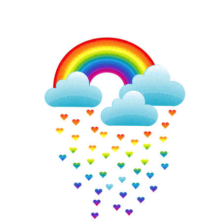 Rainbow, clouds and heart-shaped raindrops